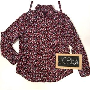 J. Crew Liberty Blouse Top 12 Floral Tie Neck